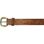 field and stream 106101102 brown leather belt embossed with floral design