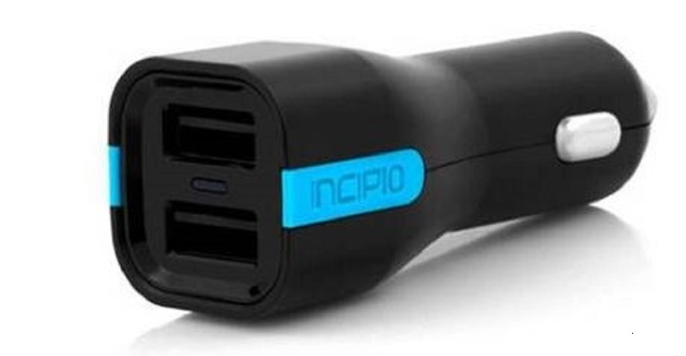 PW176 - Incipio 4.8A High Speed Dual USB Port Car Charger, Black