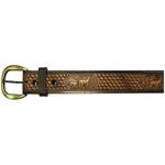 """10610160136 - 36"""" Black Leather Belt Deer Design"""