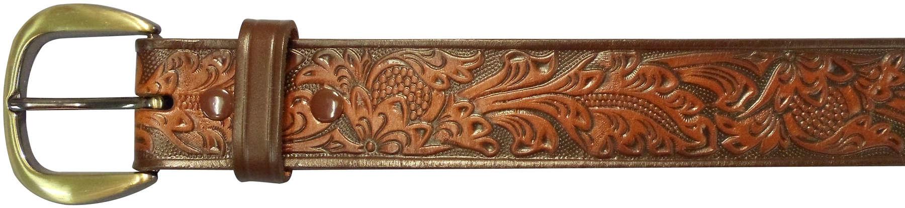 "10610110238 - 38"" Brown Leather Embossed Belt"