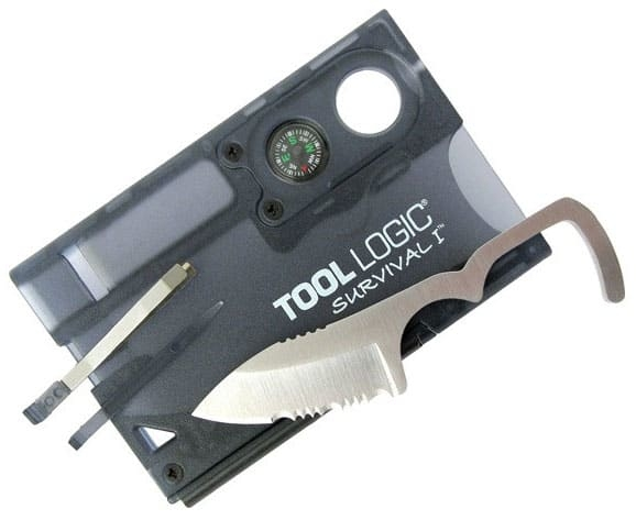 Tool Logic SVC1 Black Survival Card with Fire starter and Compass