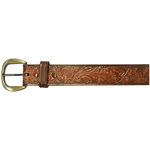"10610110244 - 44"" Brown Leather Embossed Belt"