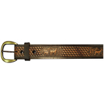"10610160136 - 36"" Black Leather Belt Deer Design"